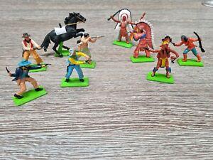 Vintage Britain's Ltd 1971 Deetail Cowboys, Indian, Soldier Figures and horses