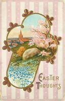 DB Postcard K278 Easter Thoughts Cross Church Vignette Scenic Cancel 1914