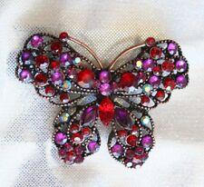 Rhinestone Copper-tone Butterfly Brooch Fabulous Red & Purple