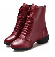 Girls Ladies Leather Jazz Dance Boot Shoes Lace Up Sport Dancing Shoes Soft Sole