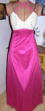 Vintage UNDERCOVER WEAR Cream Lace/Raspberry Straps Nylon Gown/Size PETITE