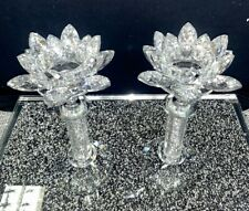 Pair of Silver Crushed Diamond Lotus Flower Candle Holder Crystal Faceted Balls