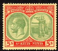 St Kitts-Nevis 1921 green/red on yellow 2/6d multi-script CA mint  SG47c