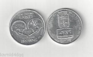 Vintage 1968 NEW ORLEANS SAINTS CLEVELAND BROWNS PROGRAM FOOTBALL COIN TOKEN JAX