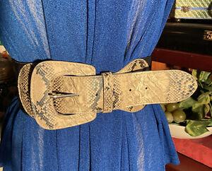 90s Boho Black Faux snakeskin buckle retro Extra Wide Elastic Belt S/M