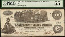New Listing1862 $100 Confederate States Currency Civil War Note Money No Stamps T-39 Pmg 55