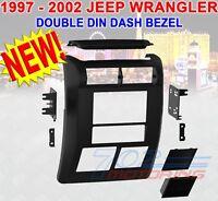 JEEP WRANGLER + TJ 1997 - 2002 DOUBLE DIN DASH BEZEL RADIO STEREO MOUNTING