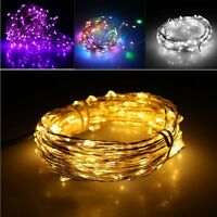 10/20/40/50/100 LED Battery Micro Rice Wire Copper Fairy String Lights Party