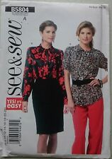 Butterick See & Sew B5804 sewing pattern Misses'S/petite Top Blouse 6-18 Coupe