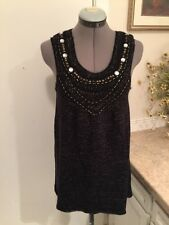 VIVIENNE TAM Black Gold Knit Sleeveless Sweater Tunic Length Beaded size L