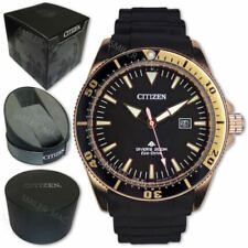 Citizen Promaster Eco Drive BN0104 09E Black Gold Divers 200 Analog Diver