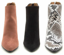 Round Block High Heels Suede Snakeskin Leatherette Pointed Closed Toe Booties