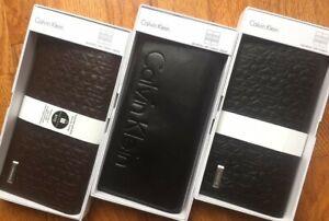 Calvin Klein Billfold Secretary w/ Interior Zipper Leather Wallet Unisex New