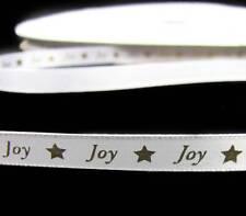 "Sale ! - 10 Yards Christmas Joy Stars White Satin Ribbon 3/8""W"