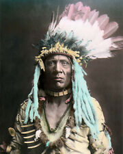 WEASEL TAIL NATIVE AMERICAN INDIAN PEIGAN BLACKFEET 8x10 HAND COLOR TINTED PHOTO