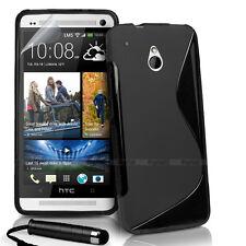 BLACK S CURVE GEL TPU Jelly CASE COVER FOR HTC ONE Mini + Stylus + Screen Film