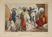 Litho couleur COSTUME BAGNE AFRIQUE ORIENT ARABE ORIENTALISTE GOUPIL ARABIC 1840