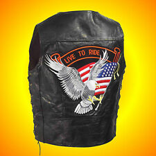 -Leather Motorcycle-Biker Vest--LIVE TO RIDE--Men's Size 2X--$49 Patch on Back !
