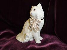 Lenox Porcelain White Persian Cat Figurine Sitting Pretty 24K Gold Bow Perfect