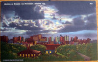 1958 Linen Postcard: 'Skyline by Moonlight/Moon - Atlanta, Georgia GA'