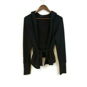 Athleta Womens Athletic Open Tie Waist Jacket Cardigan Size L Hooded Black Basic
