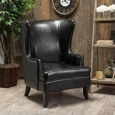 Elegant Black Leather Tall Wingback Armchair w/ Chrome Nailhead Accents