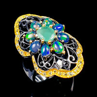 Handmade Natural Emerald 925 Sterling Silver Ring Size 7.5/R121786