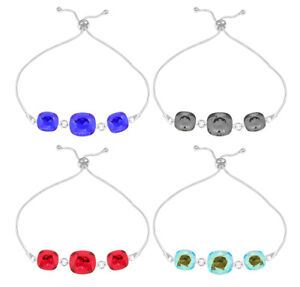 Sterling Silver Bracelet made with 4470 Square Swarovski® Crystals * Many Colors