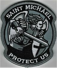 """3 1/2"""" Urban Gray St. Saint Michael Protect Us Morale Patch Hook Fastener"""
