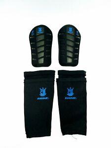 "BRINE King Shin G3 Shin Guards W/ Sleeves - Black/Blue - Youth Small 3'10""-4'4"""