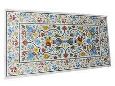 """60"""" x 32"""" White Marble Center Dining Table Top Inlay Pietra dura Work"""