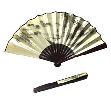 Men Women Wood Handle Fabric Folding Hand Fan 13-inch long, Jiangnan Painting