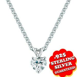 """Heart 0.70Ct 14K White Gold Over Solitaire Pendant 18"""" Chain Valentine Gifts"""