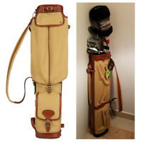 TOURBON 3-Way Canvas&Leather Pencil Golf Clubs Bag with Golf Balls Tees Holder