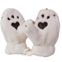 White Faux Fur Paws Knit Mittens for Children Boys Girls Soft Winter Gloves