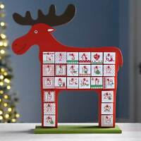 39 cm Wooden Reindeer Advent Calendar Christmas Decoration, Multi-Colour
