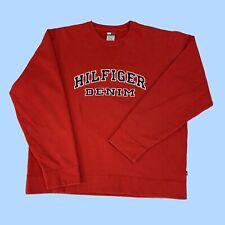 Tommy Hilfiger Denim Vintage Sweatshirt Spell-out Red Size 2XL