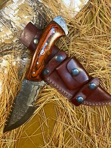 LOUIS MARTIN RARE FIXED BLADE CUSTOM HANDMADE DAMASCUS ART HUNTING TRACKER KNIFE