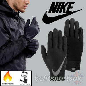 NIKE BASE-LAYER RUNNING GLOVES MENS LIGHT WINTER WARM COLD TOUCH SCREEN BLACK