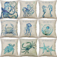 "18"" Marine animal Printing cotton linen Pillowcase Sofa Home Decor Cushion Cover"