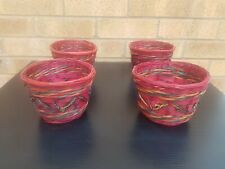 WOODEN SET OF 4 HOMEMADE INDIAN STYLE BASKETS RED NEW INDOOR/ OUTDOOR SMALL