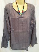 LONG Sleeve T- shirt HIPPIE V-NECK MENS VINTAGE GRAY BOHO striped gringo tribal