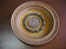 """Ceramic Wall Plaque has Center Medallion on Fabric AS IS some cracks in frame 8"""""""