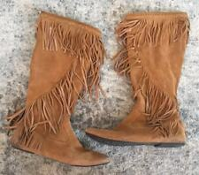 Sam Edelman Suede Fringe Tall Festival Boots Women's Size 10