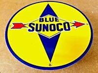 "VINTAGE BLUE SUNOCO GASOLINE SIGN 12"" PORCELAIN METAL ADVERTISING GAS PUMP PLATE"