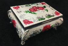 Collection handmade cloisonne carved red flowers auspicious lucky jewel Boxes RN