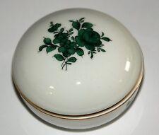 Wien Augarten Deckeldose Porzellan mit grüner Rose H ca. 5,5 cm, Dm ca. 8,5 cm