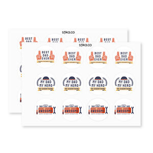 Pack of 24 Hero Dad paper labels, Adhesive Stickers Colourful Decorative Sticker