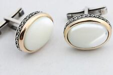 Natural White Cat's Eye Turkish Handmade 925 Sterling Silver Men's Cufflinks