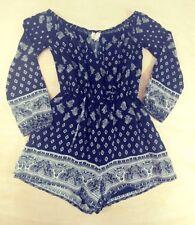 a937d1d12ee4 LA Hearts Womens Long Sleeve Romper Black White India Style Geometric Print  XS